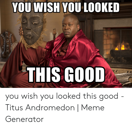 Titus Andromedon: YOU WISH YOU LOOKED  THIS GOOD  memegenerator.net you wish you looked this good - Titus Andromedon | Meme Generator