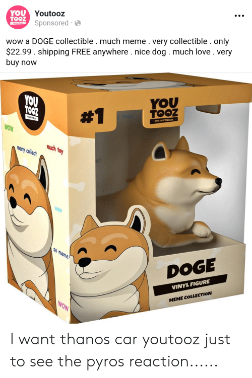 Meme Doge: YOU Youtooz  TOOZ  Sponsored  COLLECTIOLES  wow a DOGE collectible. much meme. very collectible. only  $22.99. shipping FREE anywhere . nice dog. much love. very  buy now  YOU  TOOZ  YOU  TOOZ  #1  COLLECTIBLES  LLECTIBLES  WOW  much foy  many collect  WOW  So meme  DOGE  VINYL FIGURE  MEME COLLECTION  MOW I want thanos car youtooz just to see the pyros reaction......