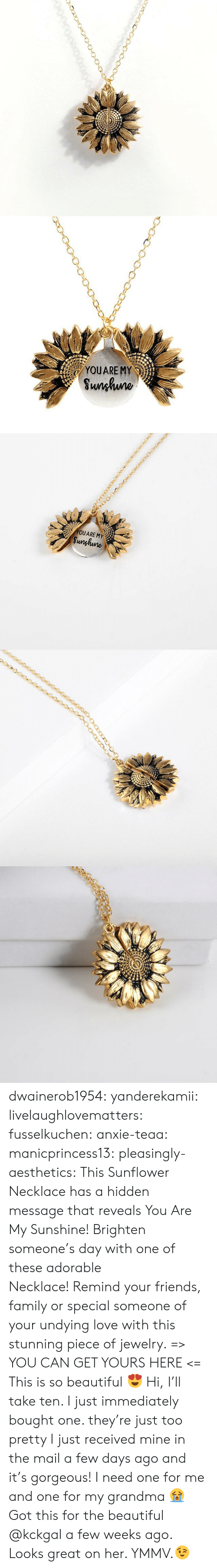 Mail: YOUARE MY  Sunhuno   YOUARE MY  Sunghune dwainerob1954:  yanderekamii:  livelaughlovematters:  fusselkuchen: anxie-teaa:   manicprincess13:   pleasingly-aesthetics:  This Sunflower Necklace has a hidden message that reveals You Are My Sunshine! Brighten someone's day with one of these adorable Necklace!Remind your friends, family or special someone of your undying love with this stunning piece of jewelry. => YOU CAN GET YOURS HERE <=   This is so beautiful 😍    Hi, I'll take ten.    I just immediately bought one. they're just too pretty   I just received mine in the mail a few days ago and it's gorgeous!  I need one for me and one for my grandma 😭  Got this for the beautiful @kckgal a few weeks ago.  Looks great on her. YMMV.😉