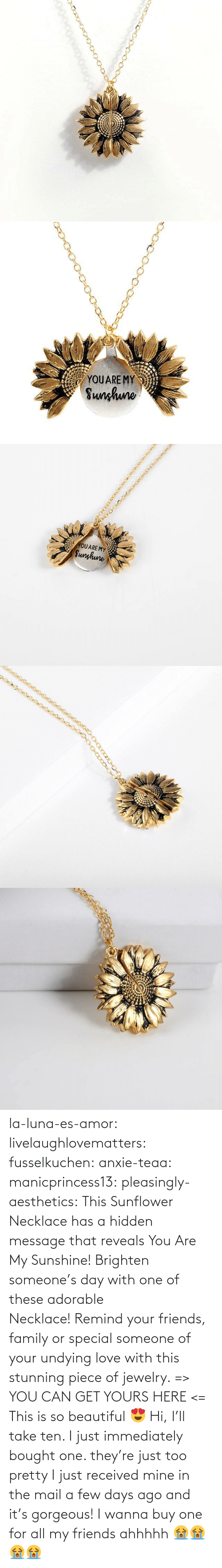 Hi I: YOUARE MY  Sunhuno   YOUARE MY  Sunghune la-luna-es-amor:  livelaughlovematters: fusselkuchen:  anxie-teaa:   manicprincess13:   pleasingly-aesthetics:  This Sunflower Necklace has a hidden message that reveals You Are My Sunshine! Brighten someone's day with one of these adorable Necklace! Remind your friends, family or special someone of your undying love with this stunning piece of jewelry. => YOU CAN GET YOURS HERE <=   This is so beautiful 😍    Hi, I'll take ten.    I just immediately bought one. they're just too pretty   I just received mine in the mail a few days ago and it's gorgeous!   I wanna buy one for all my friends ahhhhh 😭😭😭😭