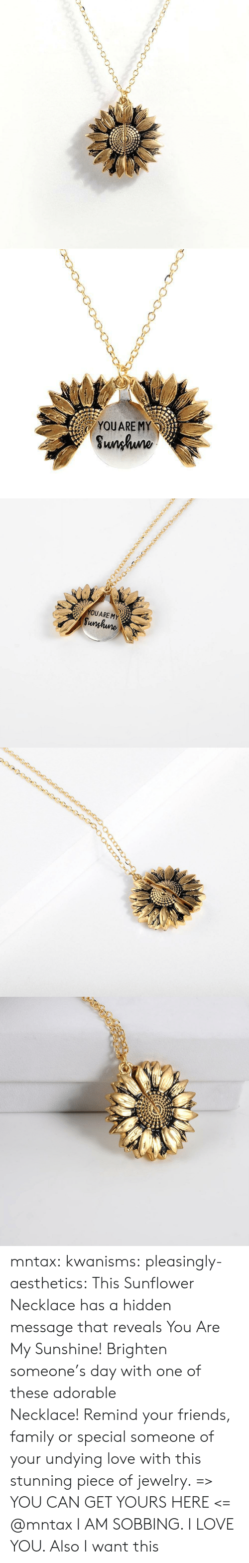 sobbing: YOUARE MY  Sunhuno   YOUARE MY  Sunghune mntax:  kwanisms:  pleasingly-aesthetics:  This Sunflower Necklace has a hidden message that reveals You Are My Sunshine! Brighten someone's day with one of these adorable Necklace! Remind your friends, family or special someone of your undying love with this stunning piece of jewelry. => YOU CAN GET YOURS HERE <=   @mntax   I AM SOBBING. I LOVE YOU. Also I want this