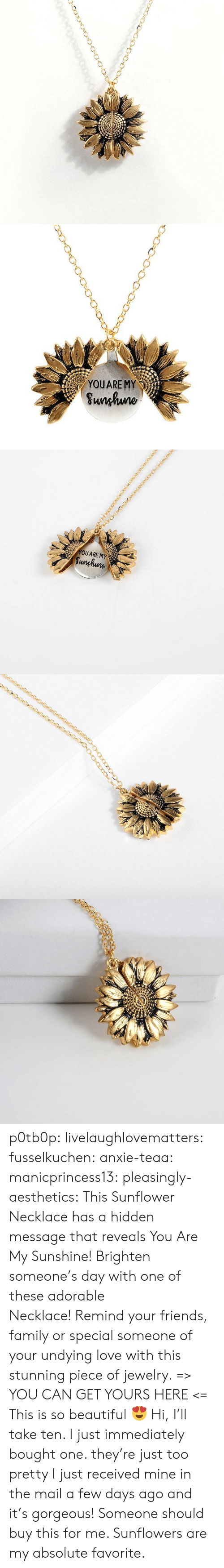 Sunflowers: YOUARE MY  Sunhuno   YOUARE MY  Sunghune p0tb0p:  livelaughlovematters: fusselkuchen:  anxie-teaa:   manicprincess13:   pleasingly-aesthetics:  This Sunflower Necklace has a hidden message that reveals You Are My Sunshine! Brighten someone's day with one of these adorable Necklace!Remind your friends, family or special someone of your undying love with this stunning piece of jewelry. => YOU CAN GET YOURS HERE <=   This is so beautiful 😍    Hi, I'll take ten.    I just immediately bought one. they're just too pretty   I just received mine in the mail a few days ago and it's gorgeous!   Someone should buy this for me. Sunflowers are my absolute favorite.
