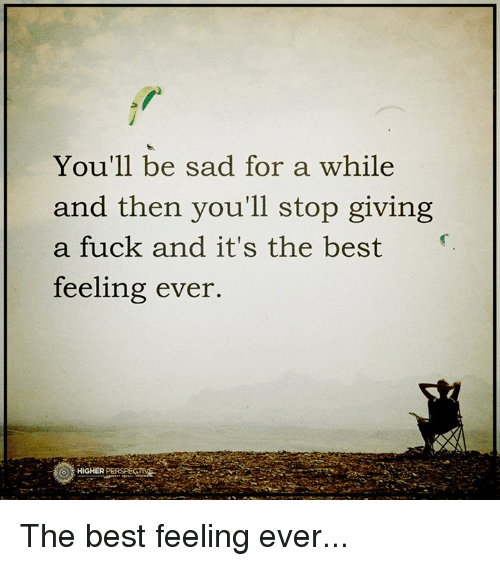 Fucking, Memes, and Best: You'll be sad for a while  and then you'll stop giving  a fuck and it's the best  feeling ever.  O HIGHER The best feeling ever...