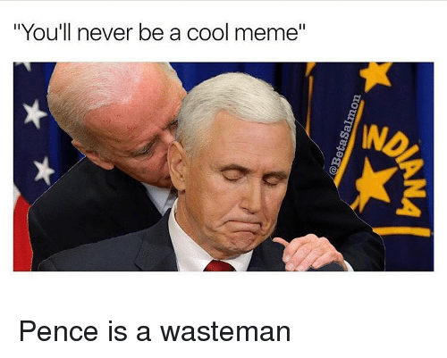 """Cool Meme: """"You'll never be a cool meme"""" Pence is a wasteman"""
