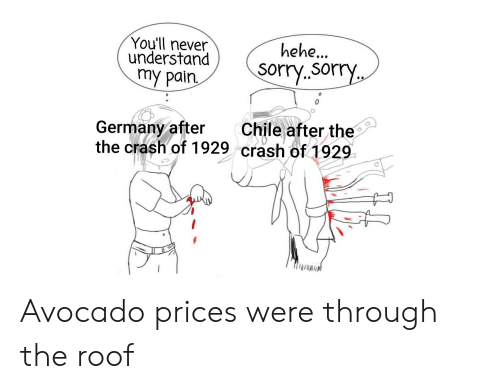 Were Through: You'll never  understand  my pain  hehe..  Sorry.sorry  Chile after the  rech of 1929  Germany after  the crash of 1929 Avocado prices were through the roof