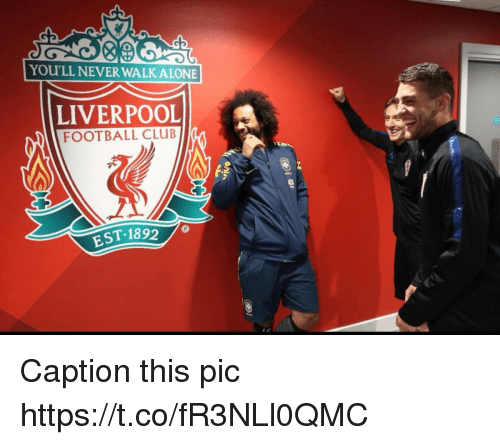 Football, Memes, and Liverpool F.C.: YOU'LL NEVER WALKALONE  LIVERPOOL  FOOTBALL CLUBa  tg  EST-1892 Caption this pic https://t.co/fR3NLl0QMC