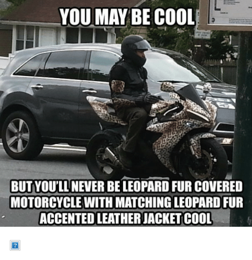 "Motorcycle: YOUMAY BE COOL  BUT YOU'LL NEVER BE LEOPARD FUR COVERED  MOTORCYCLE WITH MATCHING LEOPARD FUR  ACCENTED LEATHER JACKET COOL <p><img alt="""" src=""http://memegenerador.com/media/created/jhm2d2.jpg""/></p>"