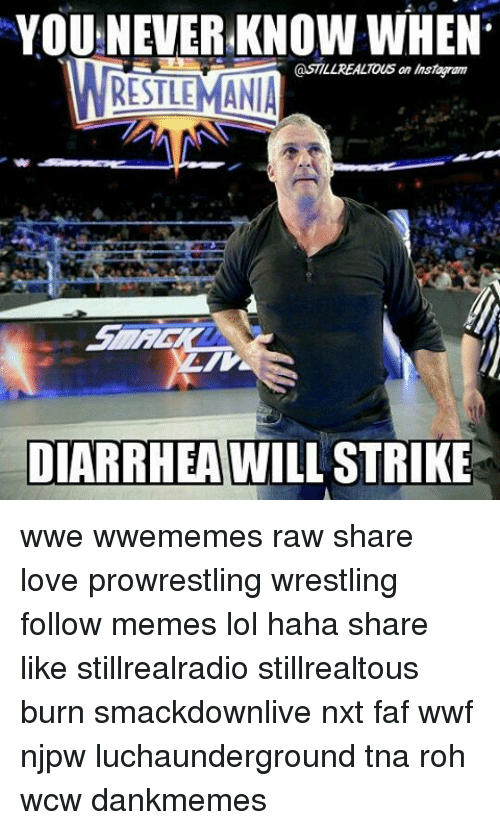 Lol, Love, and Memes: YOUNEVER KNOW WHEN  @STILL REALTous an msmagram  WRESTLEMANIA  DIARRHEA WILL STRIKE wwe wwememes raw share love prowrestling wrestling follow memes lol haha share like stillrealradio stillrealtous burn smackdownlive nxt faf wwf njpw luchaunderground tna roh wcw dankmemes
