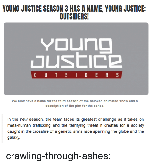 Young Justice: YOUNG JUSTICE SEASON 3 HAS A NAME, YOUNG JUSTICE:  OUTSIDERS!  We now have a name for the third season of the beloved animated show and a  description of the plot for the series   In the new season, the team faces its greatest challenge as it takes on  meta-human trafficking and the terrifying threat it creates for a societ)y  caught in the crossfire of a genetic arms race spanning the globe and the  galaxy. crawling-through-ashes: