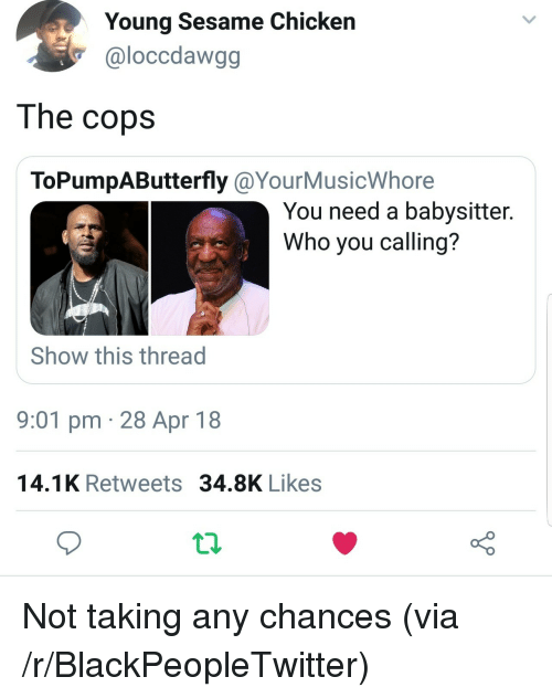 Who You Calling: Young Sesame Chicken  @loccdawgg  The copsS  ToPumpAButterfly @YourMusicWhore  You need a babysitter.  Who you calling?  Show this thread  9:01 pm 28 Apr 18  14.1K Retweets 34.8K Likes <p>Not taking any chances (via /r/BlackPeopleTwitter)</p>