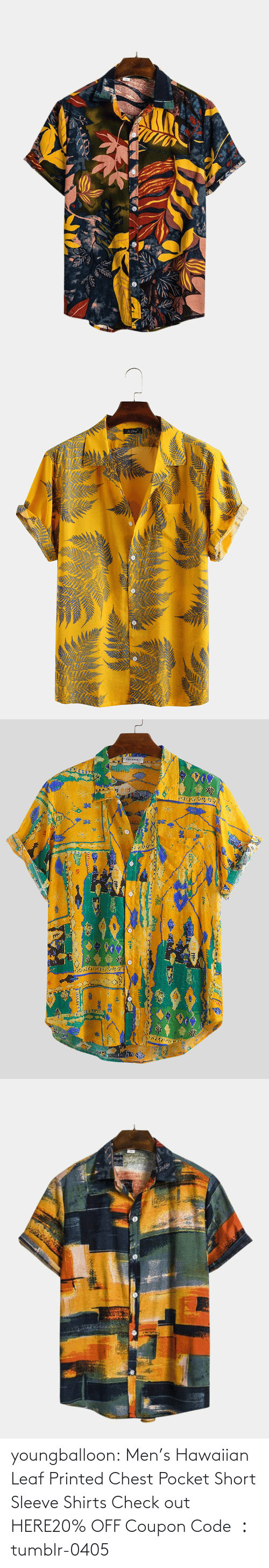 check: youngballoon:  Men's Hawaiian Leaf Printed Chest Pocket Short Sleeve Shirts Check out HERE20% OFF Coupon Code : tumblr-0405