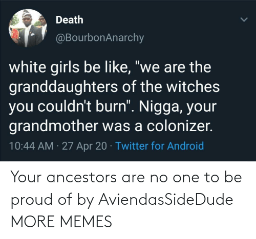 Be Proud: Your ancestors are no one to be proud of by AviendasSideDude MORE MEMES