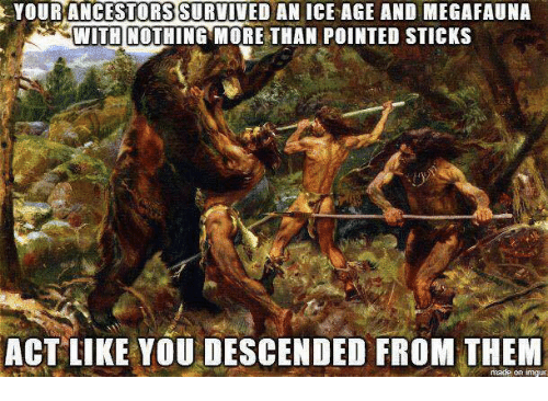 Memes, Ice Age, and Acting: YOUR ANCESTORS SURVIVED AN ICE AGE AND MEGAFAUNA  WITH NOTHING MORE THAN POINTED STICKS  ACT LIKE YOU DESCENDED FROM THEM  made on inngur