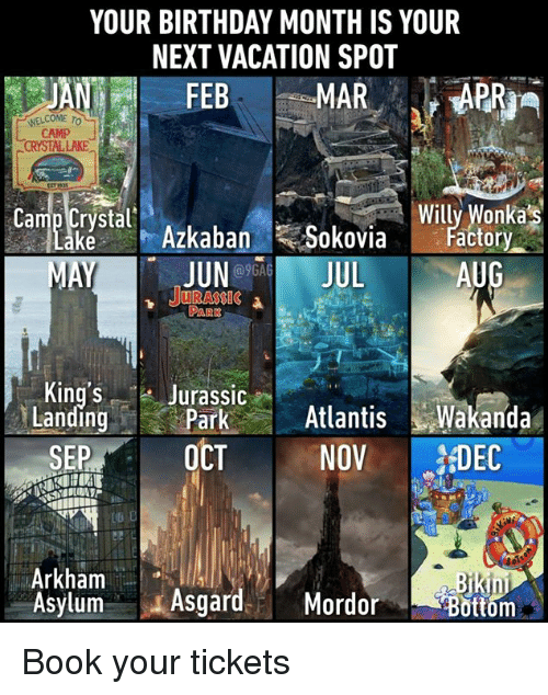 arkham: YOUR BIRTHDAY MONTH IS YOUR  NEXT VACATION SPOT  JAN FEB  WELCOME To  CAMP  CRYSTAL LAKE  Cuostat Azkaban Sokoviaily xlorlkas  JUNJUL  JURASSIC  actory  AUG  King'S Jurassic  LandingParkAtlanis Wakanda  SEP0CT NOV DC  Arkham  Asylum Asgard. Mordor  ottom Book your tickets