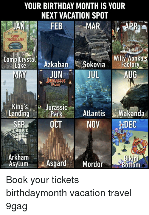 arkham: YOUR BIRTHDAY MONTH IS YOUR  NEXT VACATION SPOT  WELCOME TO  CAMP  CRYSTAL LAKE  EST  stal Azkaban Sokovia ato  Willy Wonkas  ctory  JUNO9GA  1 JURASSIC  AUG  PARK  King's Jurassic  LandingParkAtlanisWakanda  SEP OCT NOV DEC  Arkham  Asylum AsgardMordor  in  ottom Book your tickets⠀ birthdaymonth vacation travel 9gag