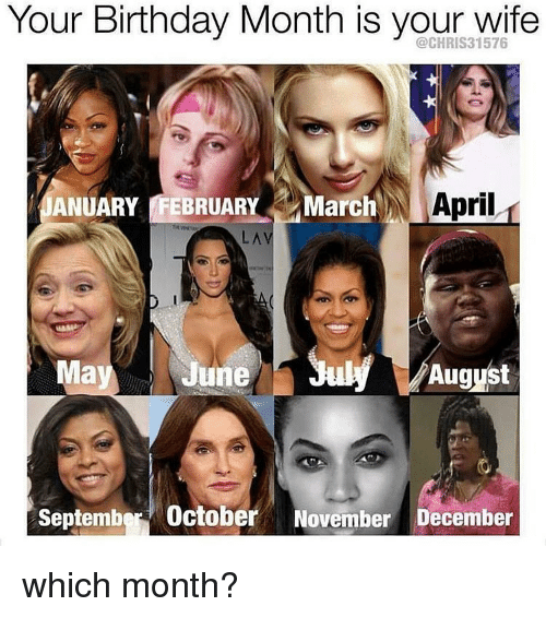 Birthday, Memes, and Wife: Your Birthday Month is your wife  ANUARY FEBRUARY  March  April  LA  August  Ma  June  September October  November December which month?