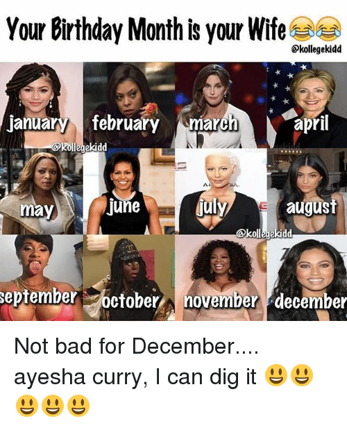 Ayesha Curry, Birthday, and Memes: Your Birthday Month is your Wife  kollegekidd  january february  march  april  Rollegekidd  Al  fuly  august  June  may  Okollegekidd  September  october  A november december Not bad for December.... ayesha curry, I can dig it 😃😃😃😃😃