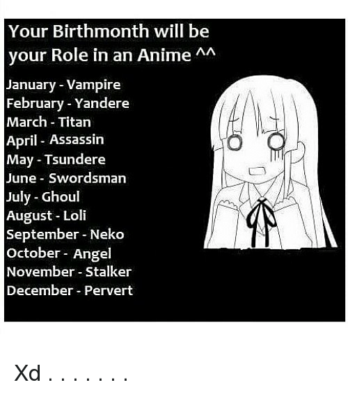 your birthmonth will be your role in an anime aa 23341738 🔥 25 best memes about tsundere tsundere memes