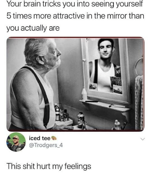 hurt my feelings: Your brain tricks you into seeing yourself  5 times more attractive in the mirror than  you actually are  iced tee  @Trodgers 4  This shit hurt my feelings