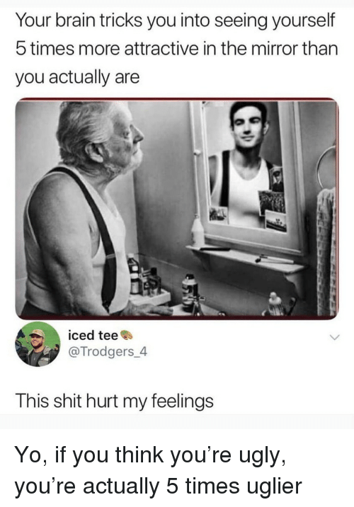 hurt my feelings: Your brain tricks you into seeing yourself  5 times more attractive in the mirror than  you actually are  iced teee  @Trodgers_4  This shit hurt my feelings Yo, if you think you're ugly, you're actually 5 times uglier