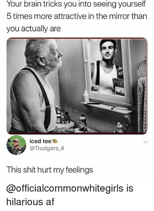 hurt my feelings: Your brain tricks you into seeing yourself  5 times more attractive in the mirror than  you actually are  iced teee  @Trodgers 4  This shit hurt my feelings @officialcommonwhitegirls is hilarious af
