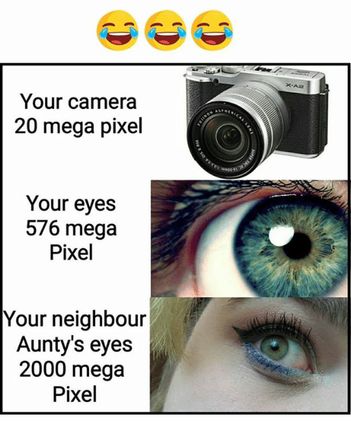 Pixellated: Your camera  20 mega pixel  Your eyes  576 mega  Pixel  Your neighbour  Aunty's eyes  2000 mega  Pixel
