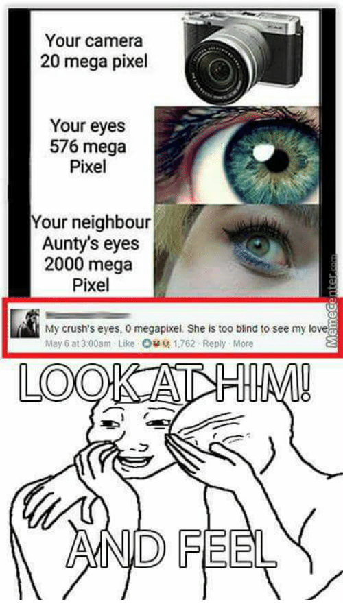 Pixellated: Your camera  20 mega pixel  Your eyes  576 mega  Pixel  Your neighbour  Aunty's eyes  2000 mega  Pixel  My crush's eyes, 0 megapixel. She is too blind to see my love  May 6 at 3:00am Like Ost 1,762 Reply More  LOO  AND FEEL