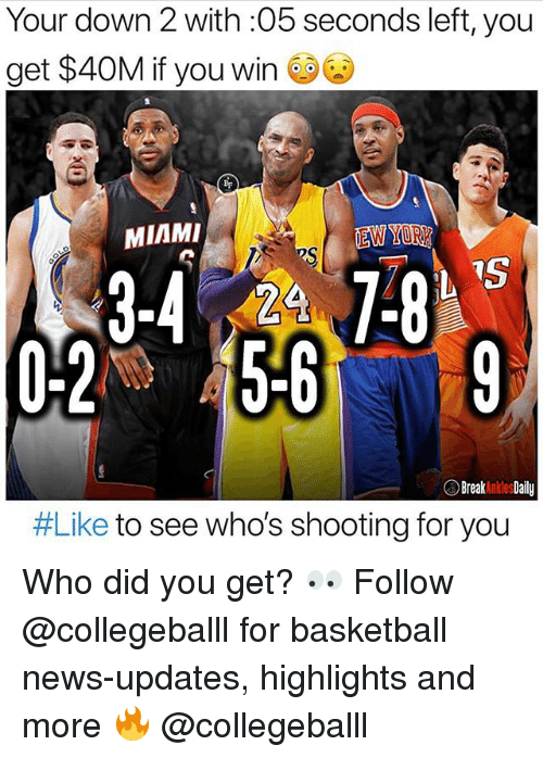 Basketball, Memes, and News: Your down 2 with :05 seconds left, you  get $40M e  if you Win  MIAMI  EW YORE  24  0-2 5-69  Break A kles Daily  #Like to see who's shooting for you Who did you get? 👀 Follow @collegeballl for basketball news-updates, highlights and more 🔥 @collegeballl