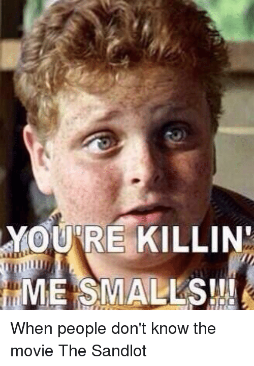 Memes, The Sandlot, and 🤖: YOUR E KILLIND  ME SMALLS!! When people don't know the movie The Sandlot