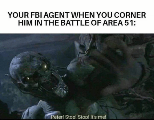 Battle Of: YOUR FBI AGENT WHEN YOU CORNER  HIM IN THE BATTLE OF AREA 51:  Peter! Stop! Stop! It's me!