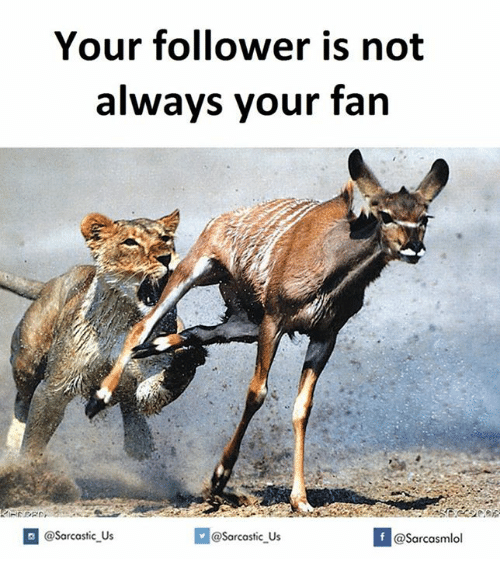 Sarcastic, Always, and Fan: Your follower is not  always your fan  @sarcastic us  If @sarcastic us  @Sarcasmlol
