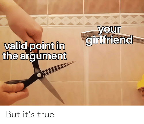 Your Girlfriend: your  girlfriend  valid point in  the argument But it's true