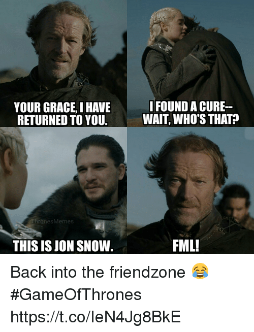 Fml, Friendzone, and Memes: YOUR GRACE, I HAVE  RETURNED TO YOU  IFOUND A CURE  WAIT, WHO'S THAT?  ThronesMemes  THIS IS JON SNOW.  FML! Back into the friendzone 😂 #GameOfThrones https://t.co/IeN4Jg8BkE
