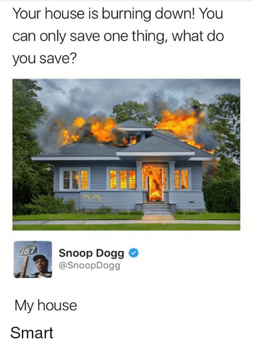 My House, Snoop, and Snoop Dogg: Your house is burning down! You  can only save one thing, what do  you save?  187  Snoop Dogg  @SnoopDogg  My house Smart