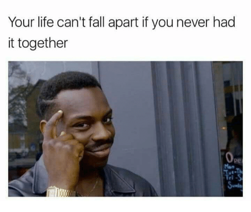 Fall, Life, and Never: Your life can't fall apart if you never had  it together  pe  Mon