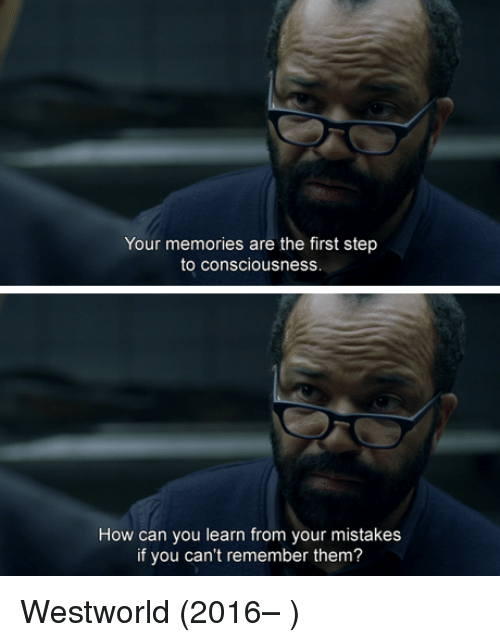 Westworld: Your memories are the first step  to consciousness.  How can you learn from your mistakes  if you can't remember them? Westworld (2016– )