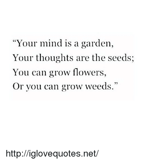 """weeds: """"Your mind is a garden,  Your thoughts are the seeds;  You can grow flowers,  Or you can grow weeds."""" http://iglovequotes.net/"""