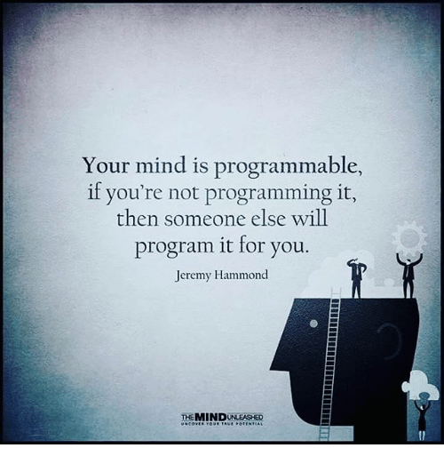 Programing: Your mind is programmable,  Your mind is programmable,  if you're not programming it,  then someone else will  program it for you.  Jeremy Hammond  THEMINDUNLEASHED