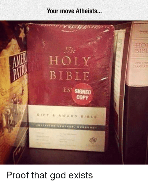 Your Moves: Your move Atheists...  HOLY  BIBLE  ES SIGNED  COPY  GIFT AWARD BLE Proof that god exists