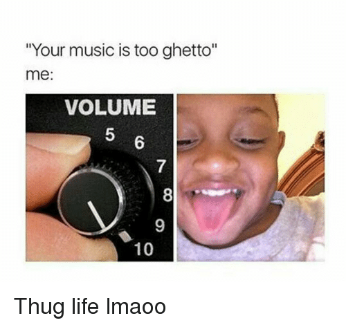 "Funny, Ghetto, and Life: ""Your music is too ghetto""  me:  VOLUME  10 Thug life lmaoo"