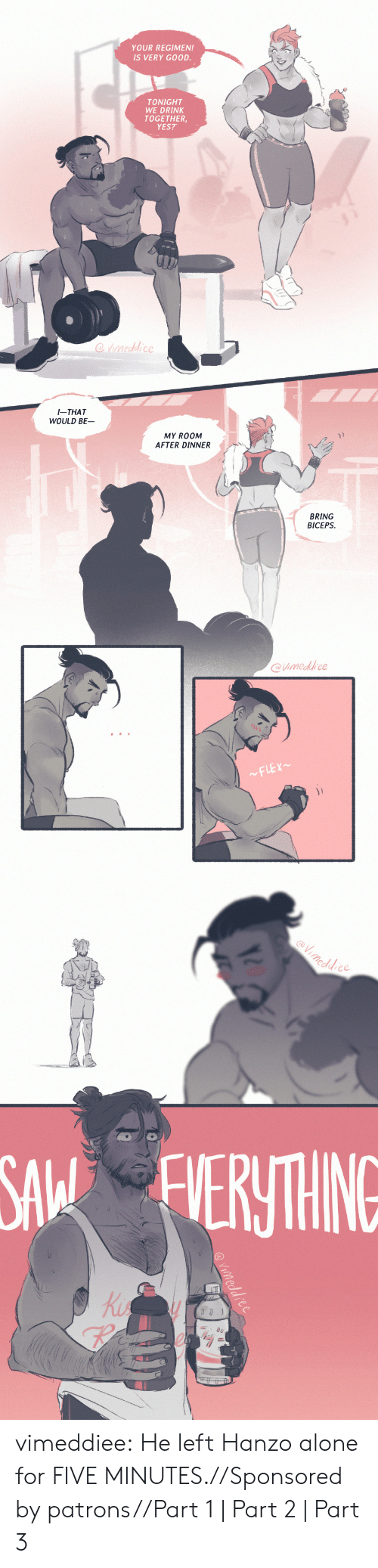 Hanzo: YOUR REGIMEN!  IS VERY GOOD.  TONIGHT  WE DRINK  TOGETHER  YES?   I-THAT  WOULD BE  MY ROOM  AFTER DINNER  兀  BRING  BICEPS  @imedfrce   eddce  SA ERTHING  Ki  re vimeddiee:  He left Hanzo alone for FIVE MINUTES.//Sponsored by patrons//Part 1 | Part 2| Part 3