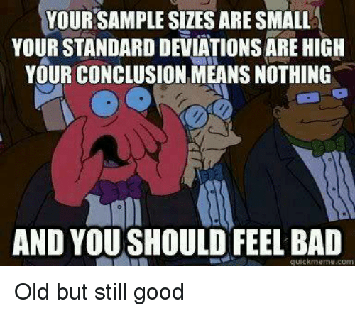 and you should feel bad: YOUR SAMPLE SIZES ARE SMALL  YOUR STANDARD DEVIATIONS ARE HIGH  YOUR CONCLUSION MEANS NOTHING  2  AND YOU SHOULD FEEL BAD  quickmeme.com Old but still good