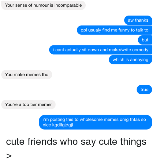 Memerized: Your sense of humour is incomparable  aw thanks  ppl usualy find me funny to talk to  but  i cant actually sit down and make/write comedy  which is annoying  You make memes, tho  true  You're a top tier memer  i'm posting this to wholesome memes omg thtas so  nice kgdlfgjdgjl cute friends who say cute things >