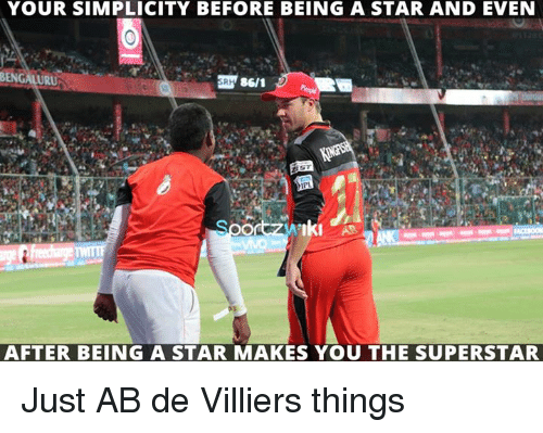 Bengali: YOUR SIMPLICITY BEFORE BEING A STAR AND EVEN  BENGALI  URU  86/1  Iki  AFTER BEING A STAR MAKES YOU THE SUPERSTAR Just AB de Villiers things