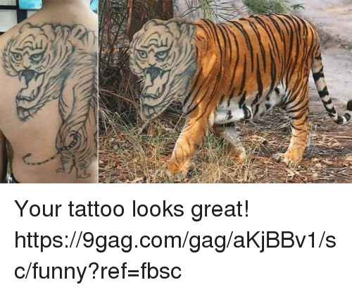 9gag, Dank, and Funny: Your tattoo looks great!  https://9gag.com/gag/aKjBBv1/sc/funny?ref=fbsc