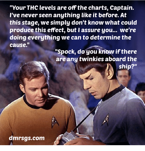 """Spock: """"Your THC levels are off the charts, Captain.  l've never seen anything like it before. At  this stage, we simply don't know what could  produce this effect, but I assure you... we're  doing everything we can to determine the  cause.""""  """"Spock, do you know if there  are any twinkies aboard the  ship?""""  dmrsgs.com"""
