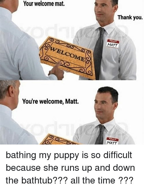 Youre Welcom: Your welcome mat.  You're welcome, Matt.  Thank you.  MATT  MATT bathing my puppy is so difficult because she runs up and down the bathtub??? all the time ???