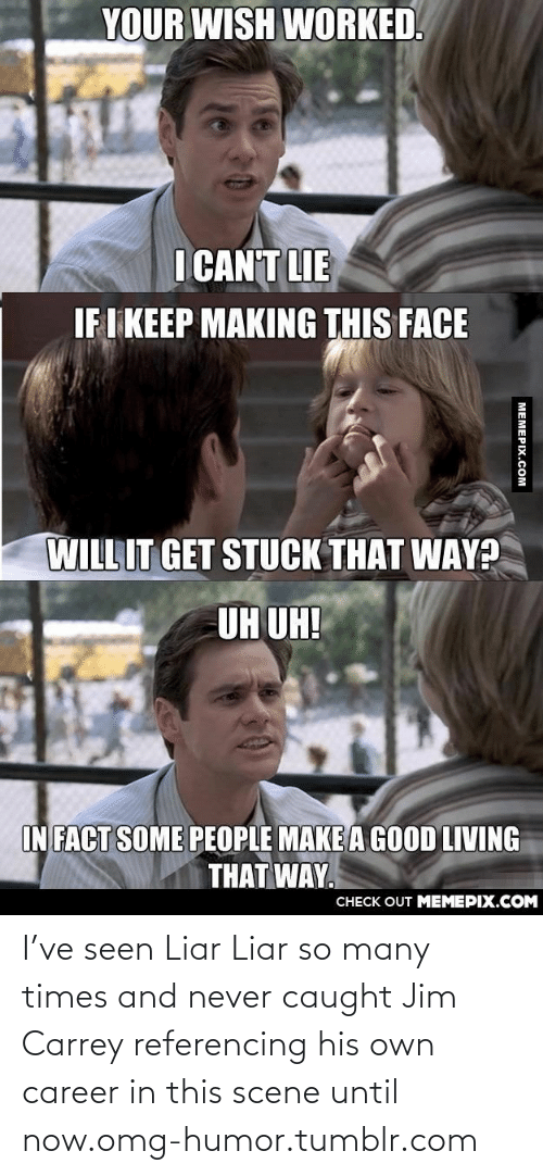I Cant Lie: YOUR WISH WORKED.  I CAN'T LIE  IF I KEEP MAKING THIS FACE  WILL IT GET STUCK THAT WAY?  UH UH!  IN FACT SOME PEOPLE MAKE A GOOD LIVING  THAT WAY.  CНECK OUT MЕМЕРIХ.COМ  MEMEPIX.COM I've seen Liar Liar so many times and never caught Jim Carrey referencing his own career in this scene until now.omg-humor.tumblr.com