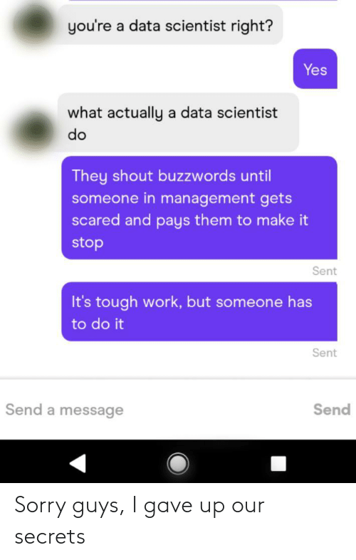 scientist: you're a data scientist right?  Yes  what actually a data scientist  do  They shout buzzwords until  someone in management gets  scared and pays them to make it  stop  Sent  It's tough work, but someone has  to do it  Sent  Send a message  Send Sorry guys, I gave up our secrets