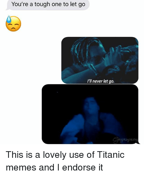 endorse: You're a tough one to let go  I'll never let go. This is a lovely use of Titanic memes and I endorse it